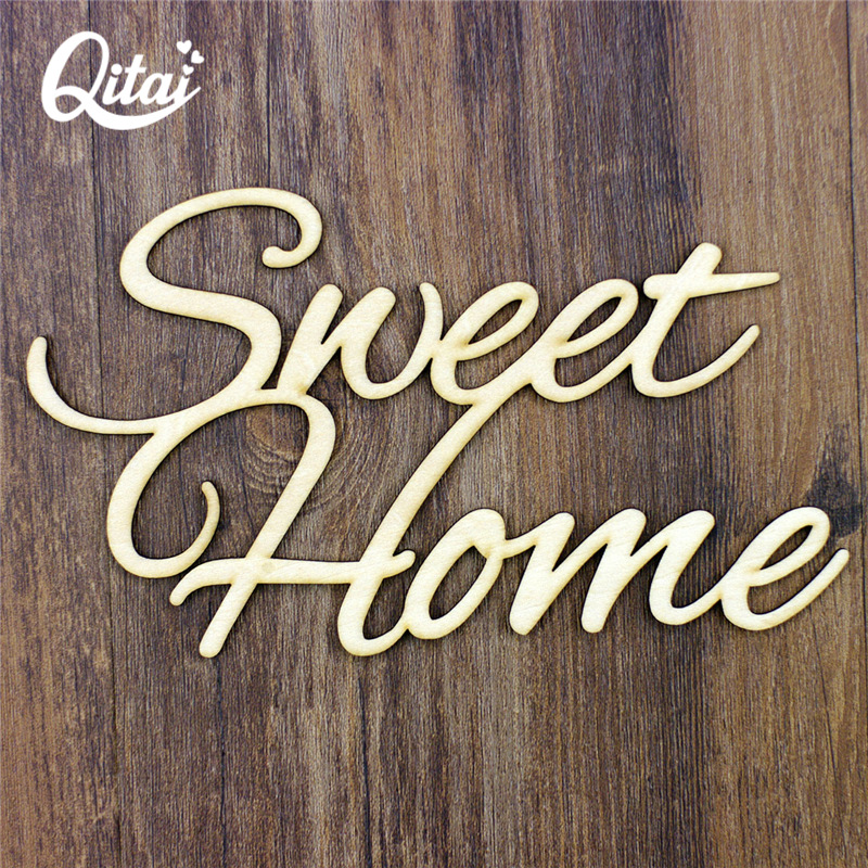 QITAI 6PCS/SET Sweet Home Wooden Wedding Party Home Decoration Accessories DIY Scrapbooking Nature Wood Crafts By Handmade WF220