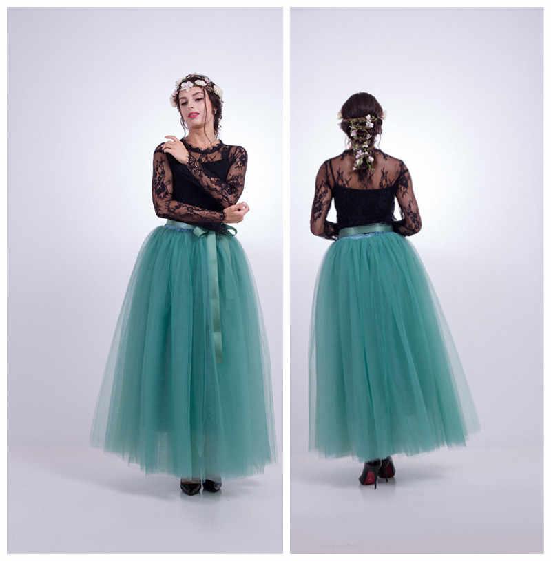 e7ed3a7fea2 Folobe наличии темно-зеленый пышные Для женщин шифон Тюлевая Юбка Faldas Высокая  Талия Макси Плюс