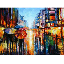 Huge Modern Abstract Oil Painting On Canvas Handmade High Quality Stepping The Rainy Street Pictures Wall