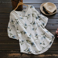 Plus Size 2018 ZANZEA Women Elegant O Neck Latern Sleeve Summer Floral Print Blouse Casual Loose Work OL Cotton Linen   Shirt   Top