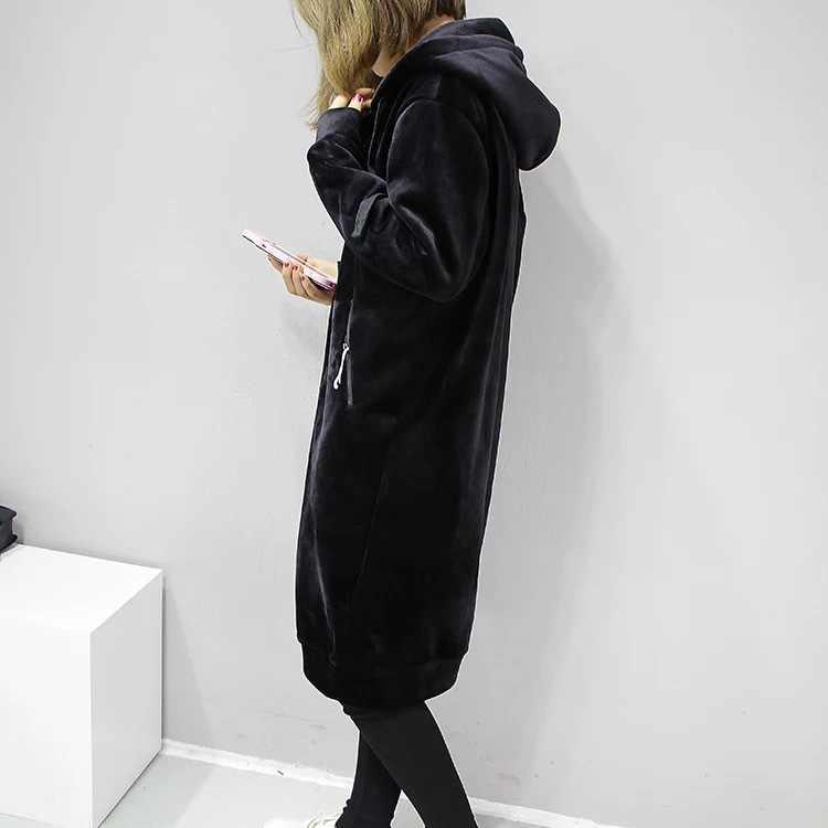 חדש 2019 סתיו עבה חם ברדס בסיסי מעילי נשים חולצות מקרית Loose ליידי החורף ארוך שחור חורף צמר נים Femme