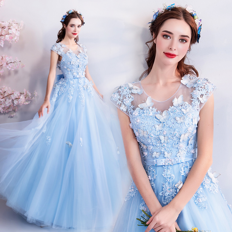 Sweet 16 Prom Dress Blue Lace Appliques Beading A-line Bridesmaids Evening Gown