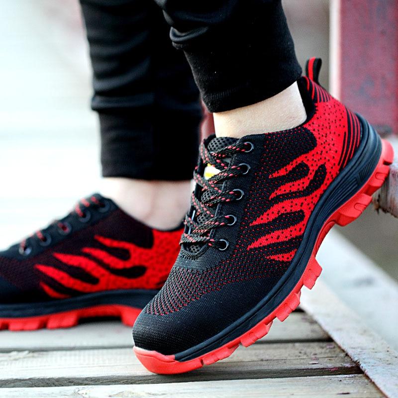 Men's Lightweight Steel Toe Shoes Anti-smashingPiercing Work Single Air-mesh Sneakers