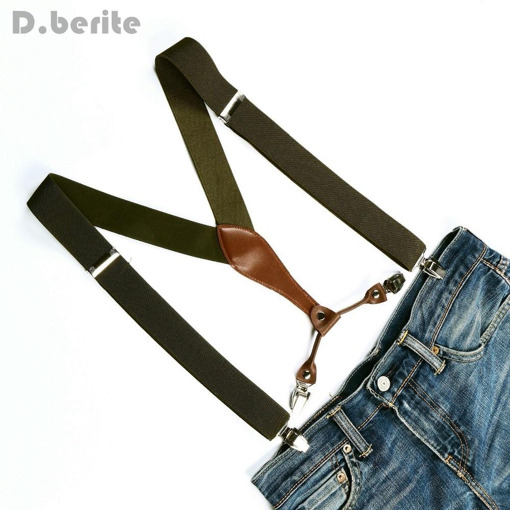 Men Women Adjustable Clip On Solid Pickle Green Jeans Suspenders Elastic Belt Strap Braces 3.5cm Width BD603