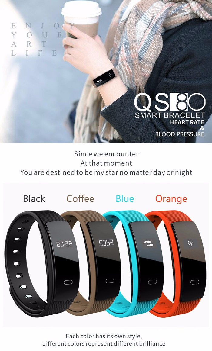 QS80 Sport Heart Rate Monitor Smart Band Blood Pressure Monitor Smart Wristband Fitness Tracker Smart Bracelet