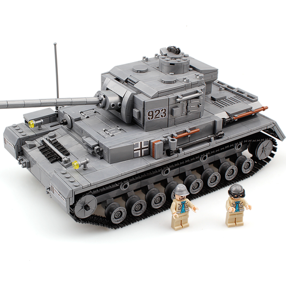 Military Panzer IV War Tank Model Building Blocks Sets DIY Education Toys Compatible Legos City Toys For Children Christmas Gift lepin 02012 city deepwater exploration vessel 60095 building blocks policeman toys children compatible with lego gift kid sets