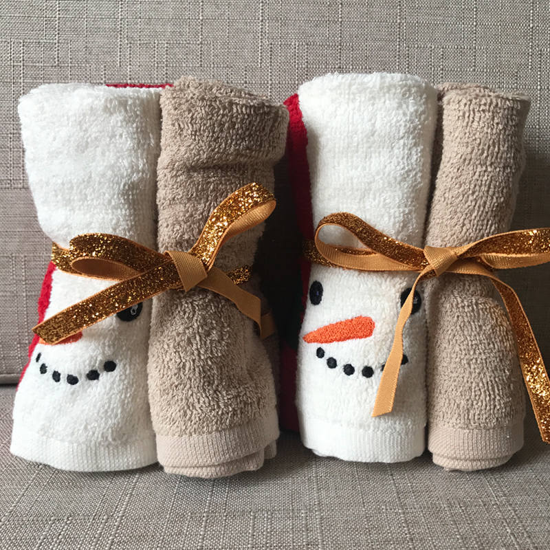 LFH Decorative Luxury Fingertip Towel Set 5 pu0027cu0027s Christmas Gift Set  Embroidered Holiday Design Quality Cotton Washcloth-in Hand Towels from  Home u0026 Garden ...