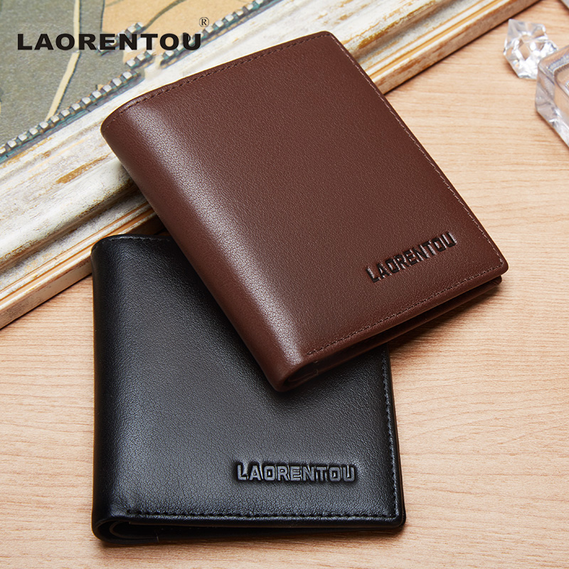 Laorentou 100% Genuine Cow Leather Simple Men Purses High Quality Soft Casual Short Mens Wallet Leather Purse Card Holder N63
