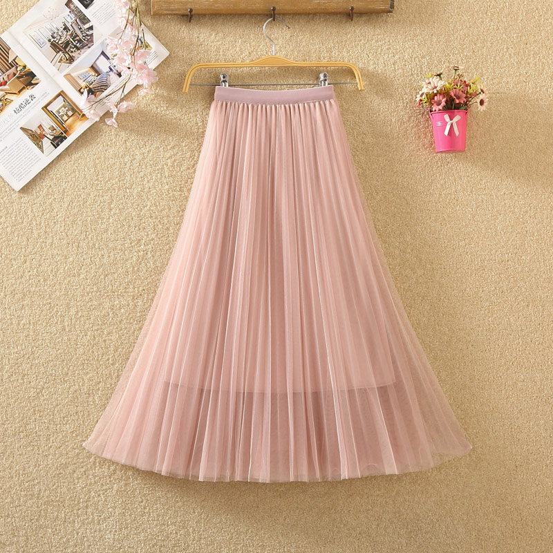 New 2019 Spring Summer Skirts Womens Beading Mesh Tulle Skirt Women Elastic High Waist A Line Mid Calf Midi Long Pleated Skirt 11