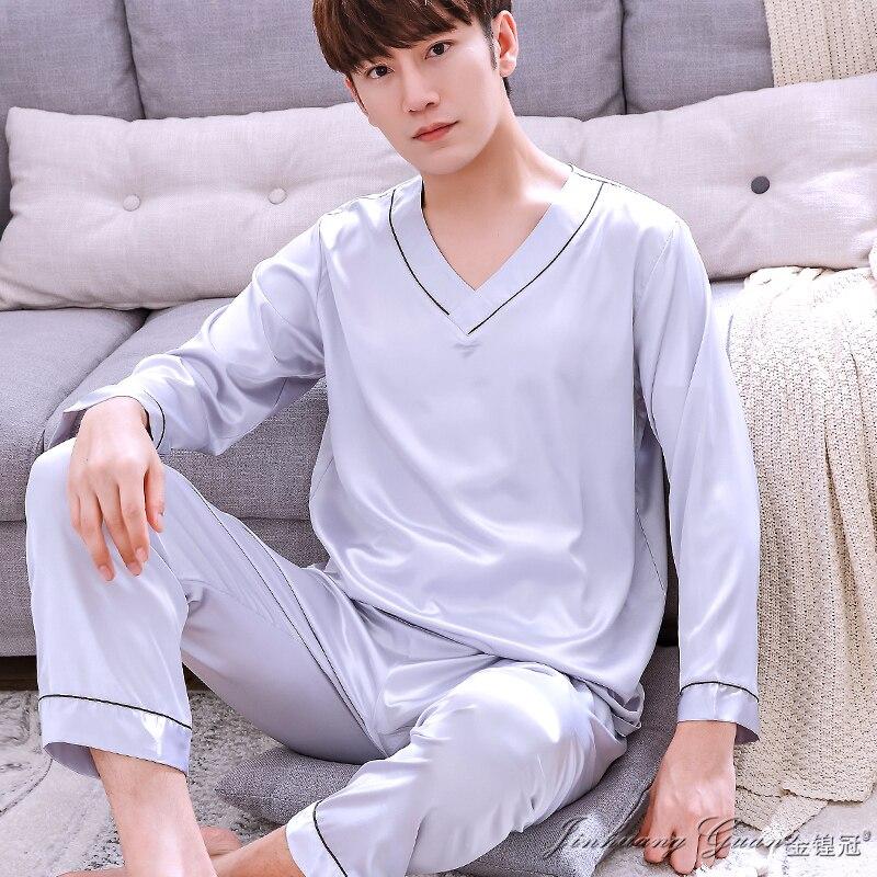 Pajamas Spring Autumn Long Sleeve Ice Silk Nightwear Men Summer Korean Youth Home Suit Male Leisure V-neck Sleepwear H5602