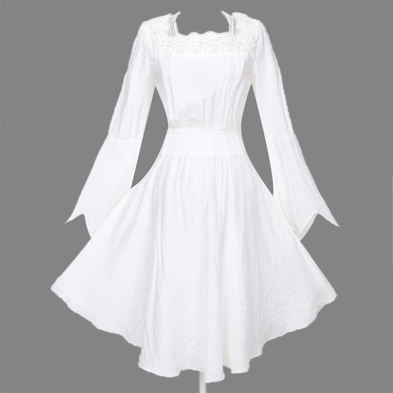 White Womens Cotton Long Sleeves Summer Punk Dress Cosplay Irregular Dresses Black White Slim Fit