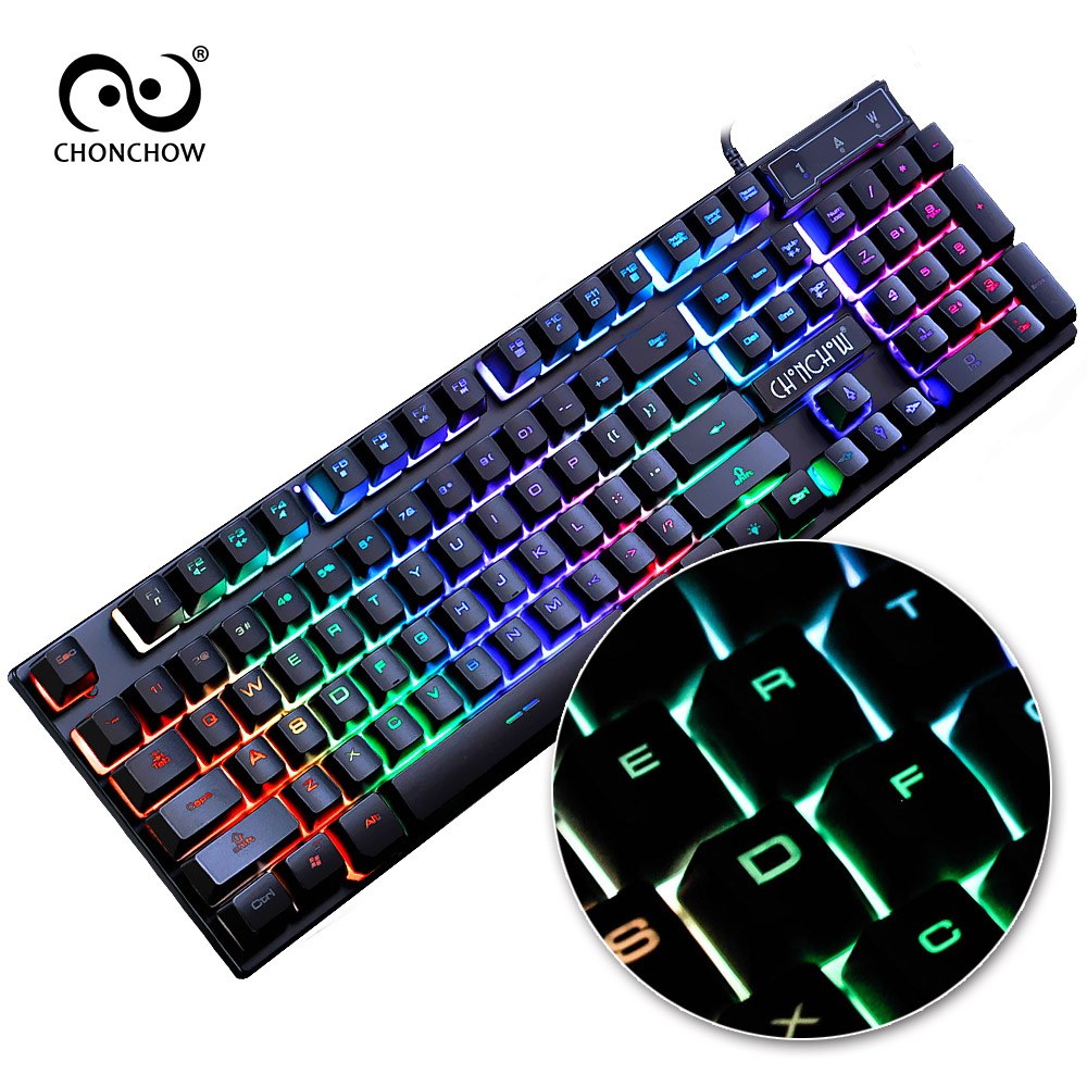 Chonchow Gaming Keyboard Rainbow Backlit Colorful Led Samsung Q430 Dc Jack Power Port Socket Connector Wire Harness Cable Free Russian Spanish French Layout Sticker Wired Gamers