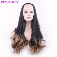 Alegria & beleza cabelo resistente ao calor longo ondulado peruca perucas sintéticas preto marrom ombre 3/4 peruca feminina 60cm