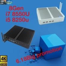 Newest Kaby Lake R 8Gen Fanless pc i5 8250u/i7 8550u Intel UHD 620 win10 Quad Core 8 Threads DDR4 2133 2400 NUC Freeshipping  pc