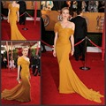 Amazing Free shipping chiffon cap sleeve mermaid yellow train celebrity dresses long with pleat red carpet dresses
