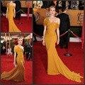 Increíble envío libre de la gasa manga casquillo de la sirena tren amarillo de la celebridad vestidos largos con plisado red carpet vestidos