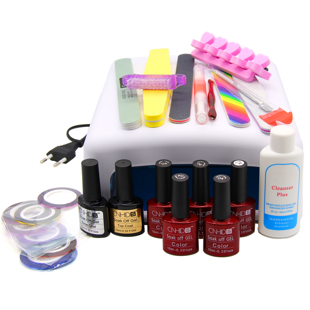 Nail Art Manicure Tools 36W UV Lamp+5 Color 10ml uv Led Gel Base Top Coat polish with French tip Remover Practice set File kit nail art manicure tool 24w led lamp 10 color 10ml uv led gel base top coat polish french tips gel remover practice set file kit