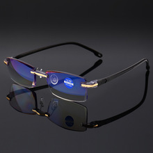 2335a26a29b Vazrobe Rimless Reading Glasses Men Anti Blue Light Diopter Male Frameless  Fashion Tint Resin Lens +