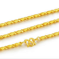 Pure Yellow Gold Fish chain Necklace/ 24K 999 Gold Lucky Necklace 8.7 9.5g