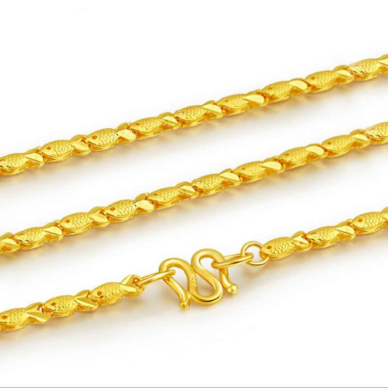 Pure Yellow Gold Fish chain Necklace/ 24K 999 Gold Lucky Necklace 8.7-9.5g hot sale pure 999 24k yellow gold women s lucky o chain star ring us 7
