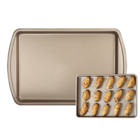 Rectangle non-stick carbon steel baking pan with ear gold large oven thickening bakeware biscuits cookies baking tools