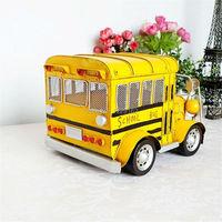 Handmade Vintage Metal Classic Cars Model Retro Iron Car Metal School Bus Model Birthday Gift Home/Shop/Pub Decoration
