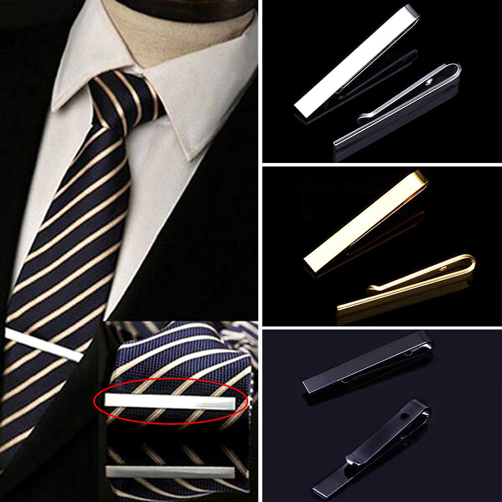 Classic Men Tie Pin Casual Style Golden Silve Tie Clip Fashion Jewelry Exquisite Wedding Men Bow Tie Pin Simple Necktie Clasp