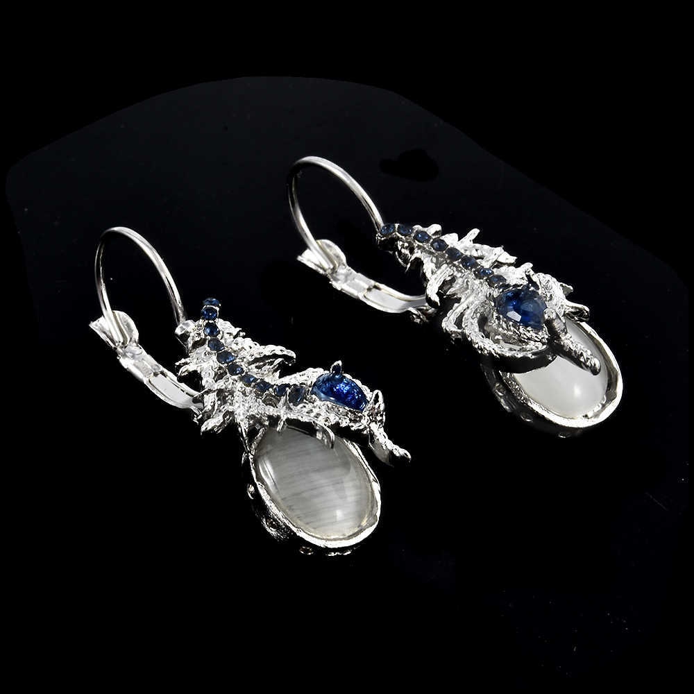 Silver Vintage Phoenix tail Moonstone&Blue stone earring Women Creative earring Prom Jewelry Gift Ear Dangle drop Earrings