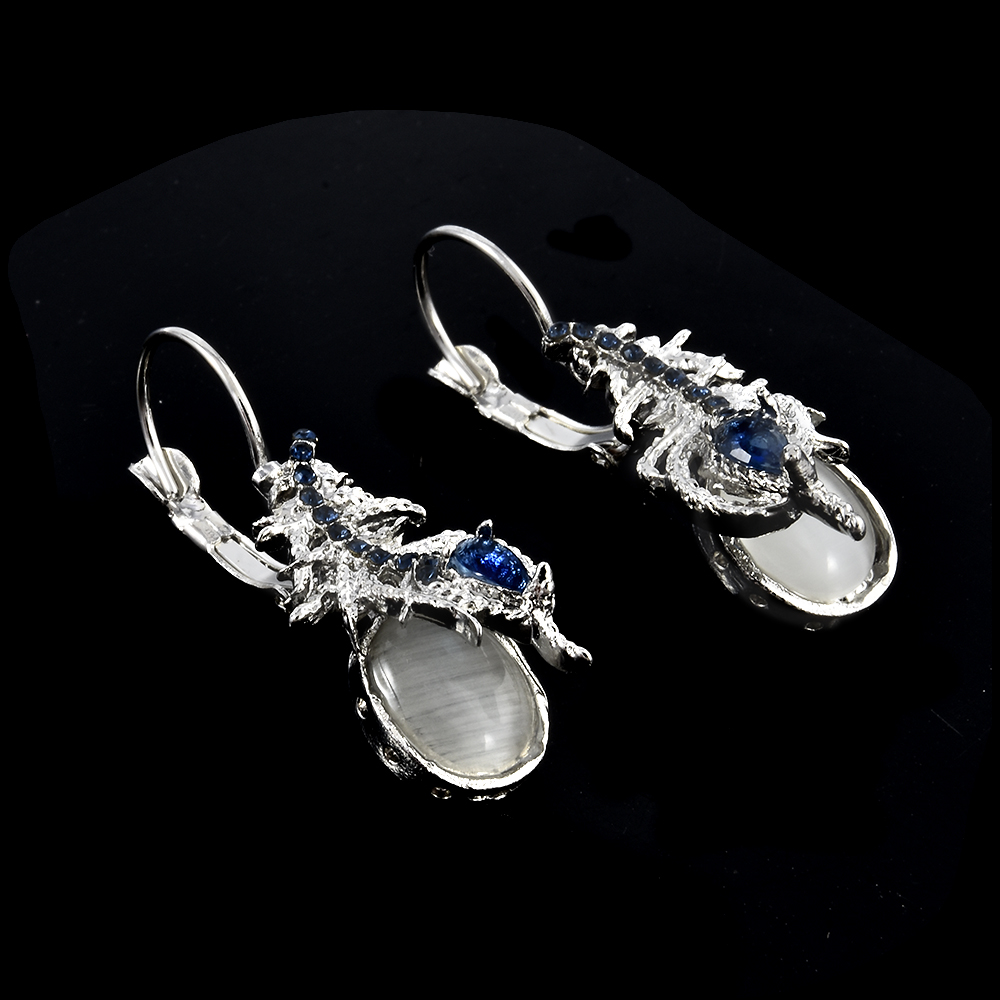 Silver Vintage Phoenix Tail Moonstone Amp Blue Stone Earring