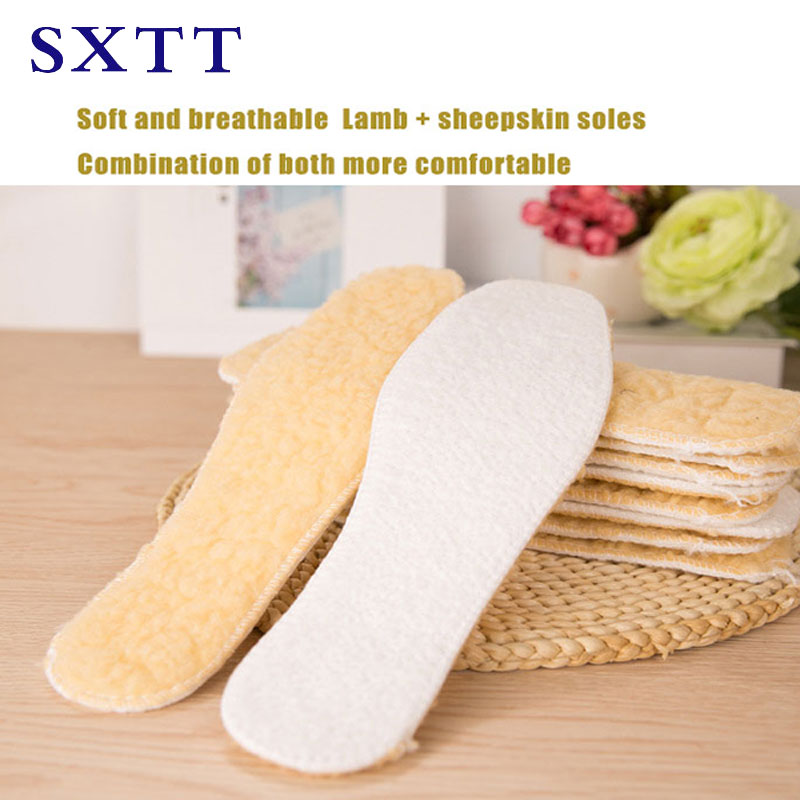 SXTT Comfortable Soft Warm Anti-odor Lambshear Soles Heated Insole Lamb + Wool Felt  Fur White Insoles For Shoe Snow Boots
