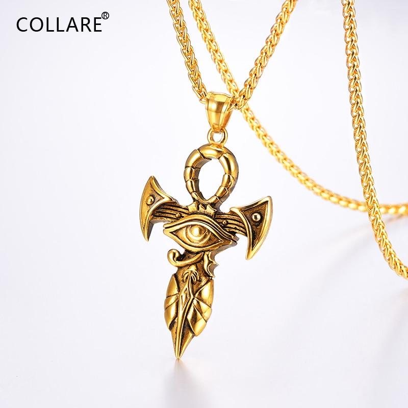 e237e6280e53 Cheap Collare Ankh Cruz collares hombres oro Negro Color egipcio llave del  Nilo joyería de