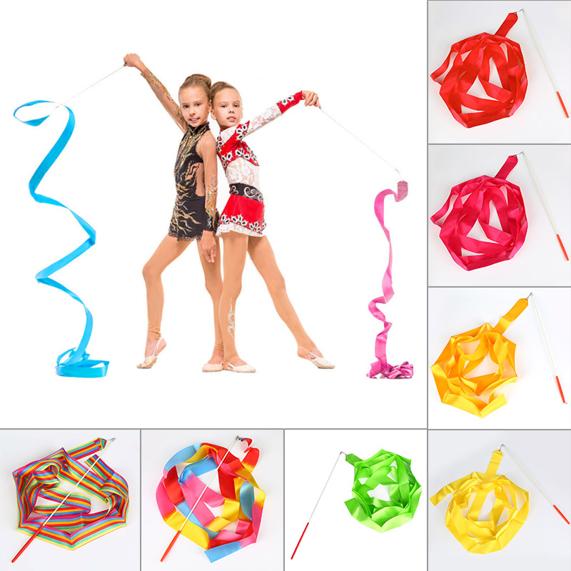 4M Gym Dance Ribbon Rhythmic Art Gymnastic Ballet Streamer Twirling Rod Stick For Training BB55