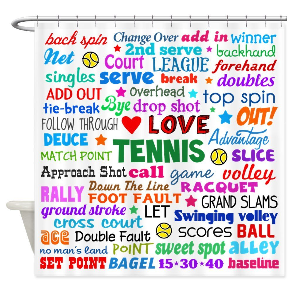 Tennis Terms Decorative Fabric Shower Curtain Set House Doormats for Living Room Anti-Slip Rug