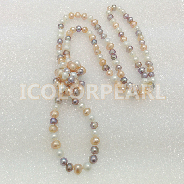 Wholesale (2pcs/lot) 125CM Long 8-9MM Multicolor Nearround Natural Freshwater Pearl Sweater ecklace. Elegant Gift For All Girls!