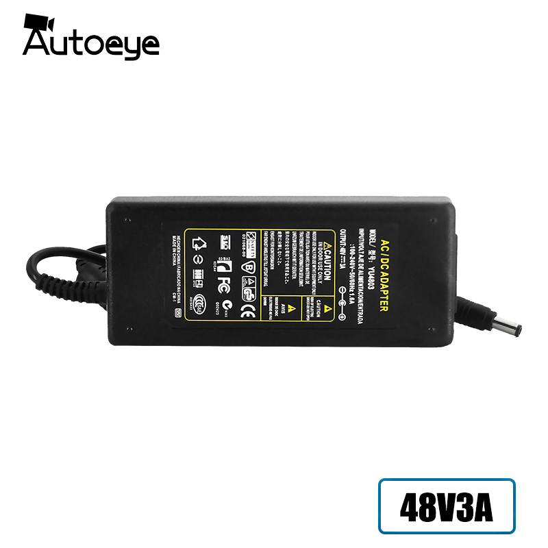 Autoeye DC Power Supply 48V 3A Adapter Charger for CCTV POE Camera 4pcs 12v 1a cctv system power dc switch power supply adapter for cctv system