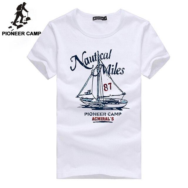 Pioneer Camp 2017 fashion print t shirt men sailboat soft cotton t-shirt mens short sleeve tshirt brand clothing Top quality