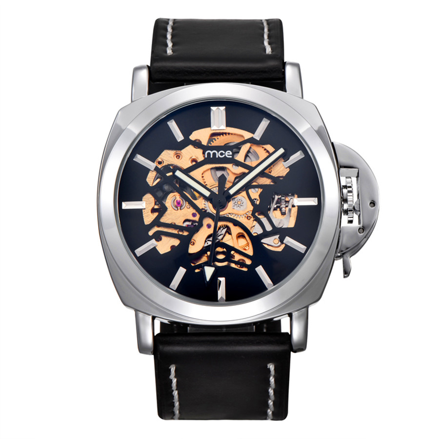 MCE Mechanical Steampunk Design Fashion Business Dress Men Watches Top Brand Luxury Stainless Steel Automatic Skeleton Watch mechanical automatic watches men luxury brand mce tourbillon wrist watch stainless steel business black wristwatches