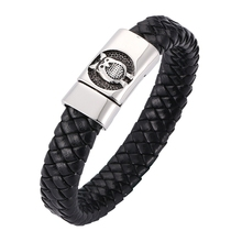 Fashion Braided Leather Bracelet charm owl Stainless Steel Magnetic Clasps Men Wrist Band Gifts BB0267
