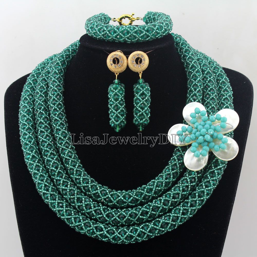 African Statement Necklace Costume Necklace Set Crystal Jewelry Womens Jewellery Set Nigerian Wedding Beads Jewelry Set HD7272