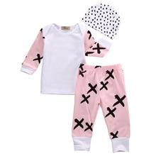 купить 3 Pcs Infant Baby Girls Pink Cross Clothing Outfits Set Babies Kids Girl CottonTop T-shirt+Pants+Hat Outfit Sets Clothes 2019 дешево