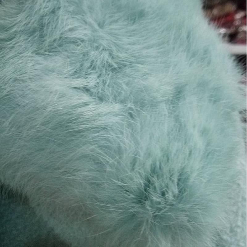 Collo Lunga Pelliccia Nuove Coperto Di J9215 Inverno Manica Cappotto Modo Cielo Blu Del Lana Azzurro Con Donne Button qxqO64zRw