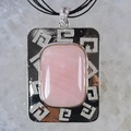 New Fashion Multi-color Natural Pink Crystal  beads Rectangle Pendant zinc alloy Free Shipping WS806