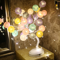 JUNJUE Colorful Cotton Ball Tree Light Pink Rose Light Girlfriends Birthday Gift Good Sisters Christmas Present Indoor decoratio