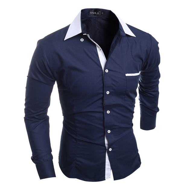 Men Shirt Luxury Brand 2016 Male Long Sleeve Shirts Casual Mens Simple Solid Single Breasted Slim Fit Dress Shirts Mens X5209