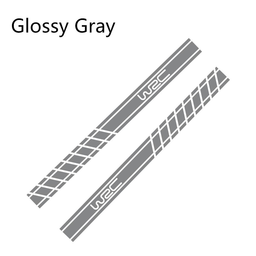 2 шт., 220 см x 16 см, длинные полосатые наклейки для автомобиля, автомобильные боковые юбки, наклейки для самостоятельного изготовления, наклейки для гоночных спортивных стикеров, аксессуары для тюнинга автомобиля - Название цвета: Glossy Gray