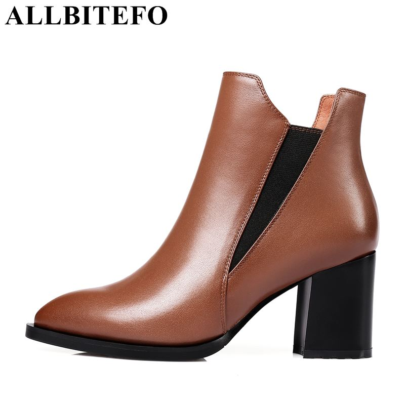 ALLBITEFO large size:34-42 genuine leather pointed toe thick heel women boots 2018 winter snow boots high heels ankle boots allbitefo size 33 43 high quality genuine leather gradient color short women boots pointed toe chains thick heel martin boots