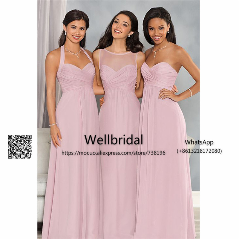 Blush Pink 2017 Simple   Bridesmaid     Dresses   with ABC Design Pleat Chiffon wedding Guest Party   dress   Formal   Bridesmaid     Dress