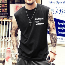 2f5781992e4717 Summer Men Slim Printed Letters Cotton Ripped Holes Fashion Tank Tops Men  Casual Sleeveless European Style