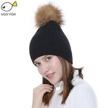 Женская шапка с помпонами, Шапка-бини, женские шапки, черная, розовая, зимняя шапка, однотонный мех енота, помпон, Шапка-бини