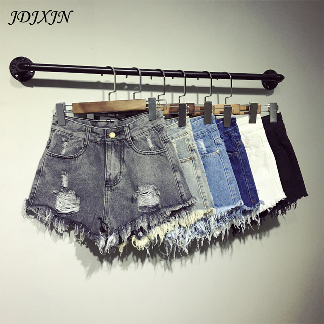 2017 New Womans Shorts Denim Summer Short Feminino Plus Size High Waist Denim Casual Jeans Hole Denim Shorts F16